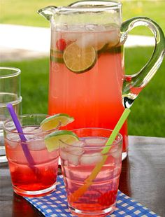 Cherry limeade1-2 liter bottle Sprite or 7-up {I used diet}  3/4 cup fresh lime juice  1/4 cup grenadine  maraschino cherries, lime wedges and ice {optional}    Directions:  Mix all ingredients into a large pitcher and serve cold. Garnish with lime wedges and cherries, if desired.