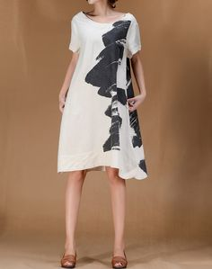 Blooming Life/ Linen Women short sleeved Long dress by MaLieb, $89.00