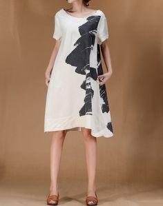 Blooming Life/ Linen Women short sleeved Long dress by MaLieb, $99.00