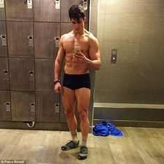 Look, no clothes! Mr Boselli revealed he works out two to three times a day and said his best feature is his 'perseverance and inconsistency'