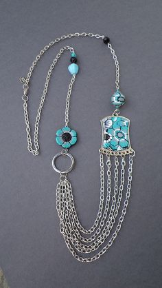Long chain necklace - polymer clay elements | Flickr - Photo Sharing!