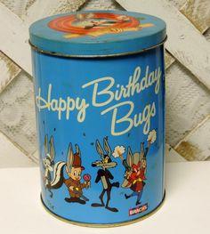 Vintage 1989 Bugs Bunny Looney Tunes Collectible Birthday Tin