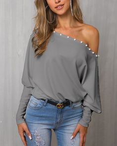 Solid Beaded One Shoulder Casual Blouse - Beauty Outfit Trend Fashion, Look Fashion, Fashion Outfits, Womens Fashion, Fashion Blouses, Fashion Skirts, Fashion Killa, Fashion Styles, Casual Outfits