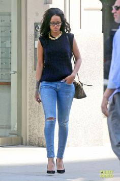 Rihanna leaving her apartment June 2 2014 - Citizens of Humanity Premium Vintage Racer Distressed Skinny Jeans in Crosby