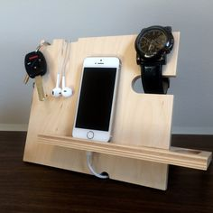 Dock-It  Docking Station Charging Station by TheWoodenMonogram on Etsy