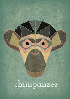 Animal head, chimpanzee, geometric. www.alicemacleansmith.com Copyright 2014 Alice Maclean Smith