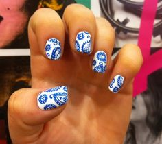 Find images and videos about nails, nail polish and paisley on We Heart It - the app to get lost in what you love. Funky Nails, Blue Nails, Gorgeous Nails, Pretty Nails, Perfect Nails, Nail Polish Designs, Nail Art Designs, Paisley Nail Art, Paisley Print