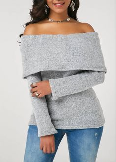 Trendy Off the Shoulder Long Sleeve Foldover Sweater Stylish Tops For Girls, Trendy Tops For Women, Cardigan Sweaters For Women, Cardigans For Women, Ladies Sweaters, Sweater Outfits, Trendy Fashion, Fashion Outfits, Woman Clothing