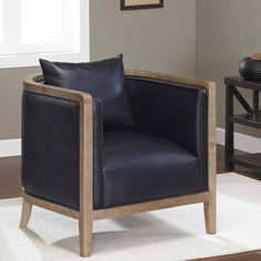 Manning Navy Blue Bonded Leather Chair | Overstock.com Shopping - Great Deals on…