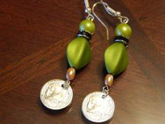 Walking Panda Earrings with olive green beads by gr8byz on Etsy, $20.00