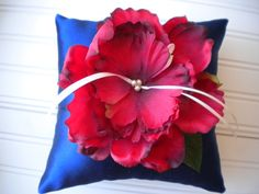 Red and Blue Peony Ring Bearer Pillow by DaniCalve on Etsy, $22.00