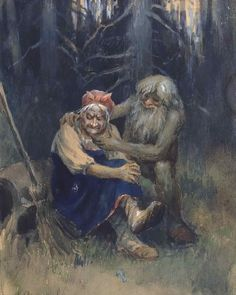 Leshy and Baba Yaga have always been great friends. And Leshy, as a forest spirit, comforts Baba Yaga when she gets upset that people forget that she's a great shaman too. He reminds her that the new young ones will remember. Baba Yaga, Forest People, Forest And Wildlife, Hedge Witch, Nature Spirits, Witch Art, Fairytale Art, Folklore, Faeries