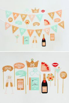 25th Birthday Party Decorations, 25th Photo Booth Props, 1991 -  25th Party Printable, Birthday Wishes, Peach, Mint | INSTANT DOWNLOAD