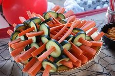 Pirate swords. Fun veggies, ideal for a pirate themed birthday party