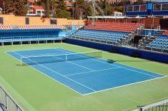Tennis hard court stock photo