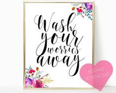 INSTANT DOWNLOAD, girl bathroom decor, bathroom art, printable wall art, washroom decor, washroom print, bathroom decor, bathroom wall decor
