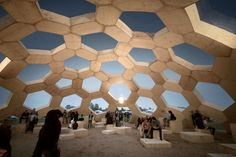 At the Danish music festival, Roskilde Festival in Kristoffer Tejlgaard and Benny Jepsen erected a geodesic dome built up with separate modules. Sustainable Architecture, Amazing Architecture, Landscape Architecture, Architecture Design, Concrete Architecture, Residential Architecture, Contemporary Architecture, Landscape Design, Geodesic Dome Homes