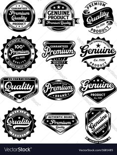 Set of premium quality and genuine vintage labels Vector Image by vectorkingdom