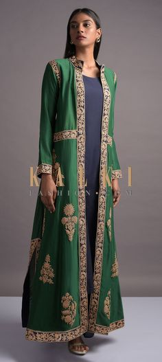 Buy Online from the link below. We ship worldwide (Free Shipping over US$100)  Click Anywhere to Tag Midnight-Blue-Palazzo-Suit-With-Emerald-Green-Long-Embroidered-Jacket-Online-Kalki-Fashion