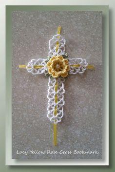 "I added ""Lacy Yellow Rose Cross Bookmark | Free Pattern"" to an #inlinkz linkup!http://www.crochetmemories.com/blog/lacy-yellow-rose-cross-bookmark/"