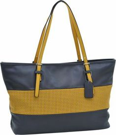 This simple tote bag by Dasein features a two tone color combination and a stylish mesh panel design front and center. You will find that this tote bag is very spacious inside for all of your daily necessities. Conveniently, this tote bag is large enough to store your laptop if you are a busy woman on the go.