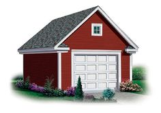 #OneCar #GaragePlan 65293   This single car garage is simple, yet functional with the added bonus of storage space above. Decorative moldings add charm and windows on both ends allow daylight into the storage area.