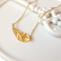 gold leaf charm necklace, charm necklace, minimal necklace, plant, gold charm necklace, stacked necklace by Sayaestics on Etsy
