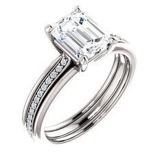 1.5 Ct Emerald Ring 14k White Gold