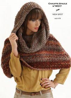 CHAUFFE EPAULE N° W017 - Fiche tuto tricot gratuit - Grosse laine NEWSPOT -  Laines 60e2174127a