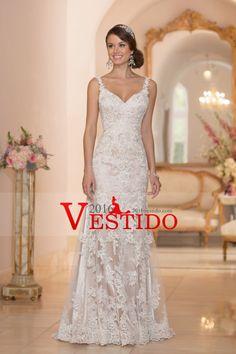 2016 Sexy espalda abierta spaghetti straps vestidos de boda de la sirena de Tulle con apliques