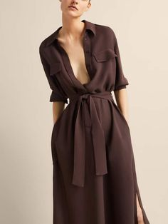 chocolate turn-down collar blended half sleeve dress chocolate turn-down collar blended half sleeve dress Dress Outfits, Casual Dresses, Fashion Dresses, Half Sleeve Dresses, Half Sleeves, Frack, Burgundy Dress, Brown Dress, Style Casual