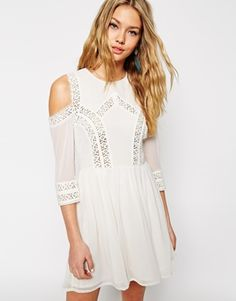 Enlarge ASOS Skater Dress with Cold Shoulder and Crochet Lace Inserts