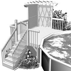 Aménagement de terrasse de piscine en bois traité Méduse