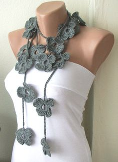 @Julie Samuel Nelson  Handmade Crochet Grey Flower Lariat Scarf Necklace by Periay