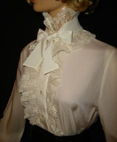 Victorian Style Frilly Lace Bow Blouse