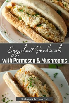 This tasty sandwich is seriously drool-worthy! It's packed with parmesan, mushrooms, and eggplants in every bite. Best Vegetarian Sandwiches, Vegan Sandwich Recipes, Easy Vegetarian Lunch, Healthy Sandwiches, Delicious Sandwiches, Vegetarian Dinners, Tofu Recipes, Delicious Vegan Recipes, Meal Recipes