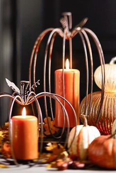 All aglow for a happy Halloween! Wire Pumpkins with candles for cute fall decor Pumpkin Candles, Pumpkin Centerpieces, Christmas Centerpieces, Thanksgiving Decorations, Fall Decorations, September Decorations, Christmas Tables, Pumpkin Lights, Fall Candles