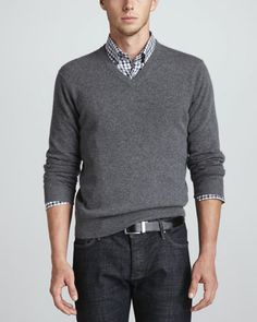 V-Neck Cashmere Pullover Sweater  Long-Sleeve Sport Shirt by Neiman Marcus at Neiman Marcus.