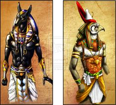 On the left, Aubis the Egyptian god of death, and on the right, Horus, the Egyptian god of the sky and the protector of the ruler of Egypt.