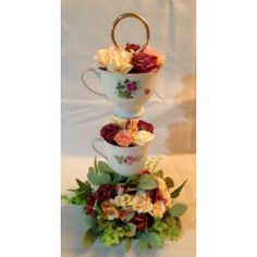 Stacked Tea Cup and Saucer Vintage Flower Guest Table Arrangement*