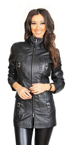 #fashionista #leatherjackets #leatherjacket #fashionblogger #jacket #apparel #clothing #style #outwear #onlineshipping #jackets #outfits #fashion #costumes #coat #lifestyle # # Womens Black Leather Jacket, Lambskin Leather Jacket, Real Leather, Coats For Women, Jackets For Women, Leather Jackets For Sale, Stylish Coat, Madame, Outerwear Women