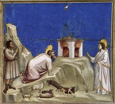 Giotto, Scenes from the Life of Joachim- 4. Joachim's Sacrificial Offering 1304-06 Fresco, 200 x 185 cm Cappella Scrovegni (Arena Chapel), P...