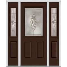Milliken Millwork 64.5 in. x 81.75 in. Heirloom Master Decorative Glass 1/2 Lite Painted Majestic Steel Exterior Door with Sidelites, Polished Mahogany