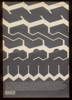 1967 Tread Mark Art Pirelli SEMPIONE Tire UK Print Ad