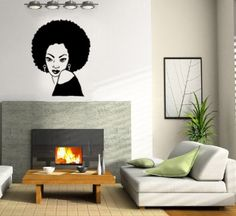 Beautiful Afro Chic Vinyl Wall Decal Natural Hair - Custom vinyl wall decals how to remove