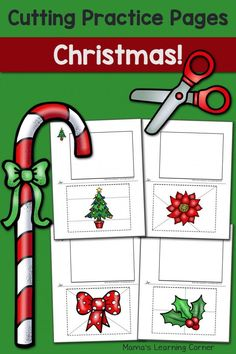 Christmas Cutting Practice Pages Preschool Christmas, Christmas Activities, Christmas Holidays, Christmas Crafts, Scissor Practice, Cutting Practice, Scissor Skills, Preschool Activities At Home, Preschool Worksheets
