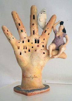 Paper mache hand sculpture - so cool!