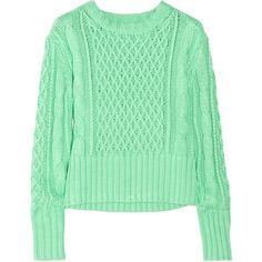 Acne Lia cable-knit cotton sweater ($230) ❤ liked on Polyvore featuring tops, sweaters, shirts, jumpers, green jumper, cableknit sweater, cable jumper, green top and cotton cable sweater