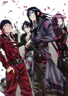 Cool dudes from each clan: Misaki Yata (red), Saruhiko Fushimi (blue), Kuroh Yatogami (silver) and Yukari Mishakuji (green).