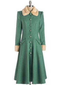 Mountain Majesty Coat in Sea Glass. Wrapped snugly in the stunning beauty of this sea-glass-green coat, you greet the chilly mountain air with a smile! #green #modcloth